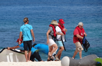 Tourists disembarking on Cousin Island
