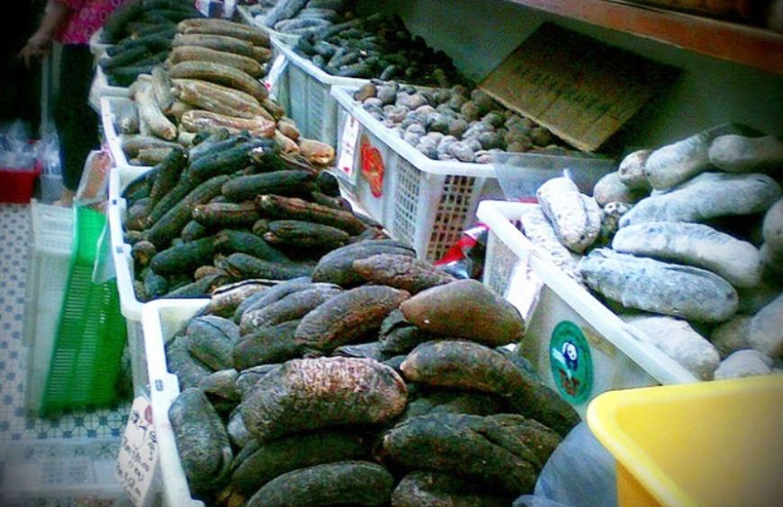 Dried sea cucumber in a market in Asia. (Wikipedia)