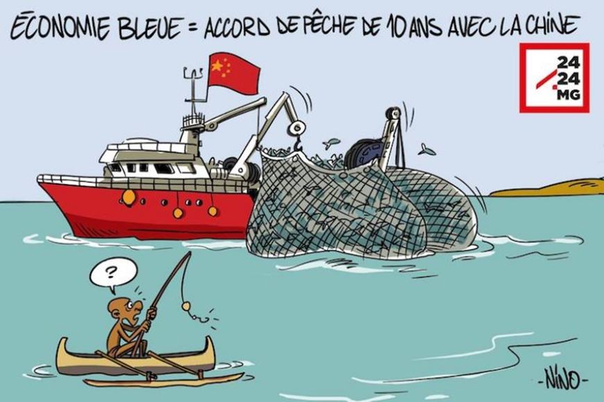 "A cartoon that ran on the Malagasy news site 2424.mg. The caption reads ""Blue Economy = 10-year fishing deal with China."""