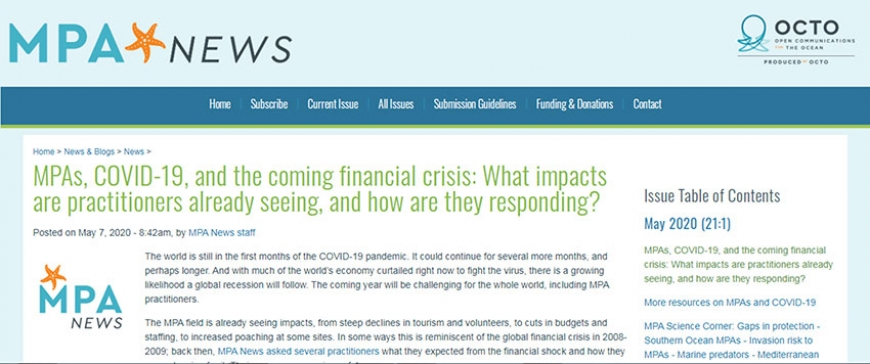 MPAs, COVID-19, and the coming financial crisis: What impacts are practitioners already seeing, and how are they responding?
