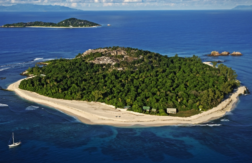 Aerial view of Cousin Island Special Reserve