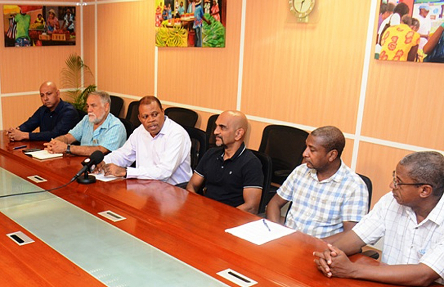 The delegation speaking to the press on arrival in the Seychelles (photo Seychelles NATION Newspaper)