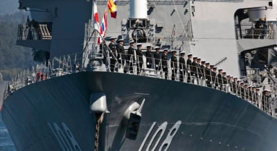 Sailors aboard the Akebono, a Japanese Maritime Self-Defense Force vessel. The ship called at the Sri Lankan port of Hambantota in April.